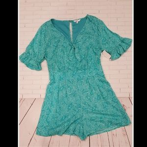 Candies Teal Floral Romper - Size Large  NWT